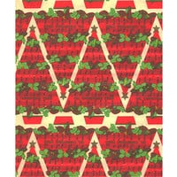 Christmas Wrapping Paper Musical Trees Red Vintage 1960s Gift Wrap
