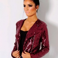 Fantasma Wine All Over Sequin Crop Jacket | Pink Boutique