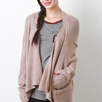 Solid Woven Knit Cardigan