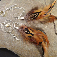 Asymmetrical Dream Catcher Feather Ear Cuff Earrings, Long Feather Earrings