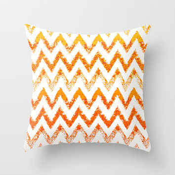 white and gold chevron Throw Pillow by Marianna Tankelevich