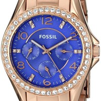 Fossil Women's ES3656 Riley Multifunction Stainless Steel Watch - Rose Gold-Tone with Purple Dial