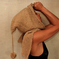 Camel Hoodie Hood / Hooded Scarf / Hand Knit Cowl / Winter Accessories