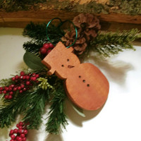 Wood Snowman  Ornament  - READY TO SHIP