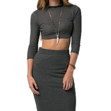 Ribbed Crop Top and Pencil Skirt Set in Charcoal - Charcoal /
