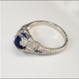 Antique Art Deco Ring Platinum Diamond Engagement Ring Sapphire Wachler Vintage 1920s Jewelry