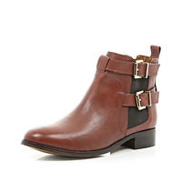 River Island Womens Brown leather buckle trim ankle boots