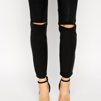 ASOS Ridley Skinny Ankle Grazer Jeans in Coated Black with Ripped Knees
