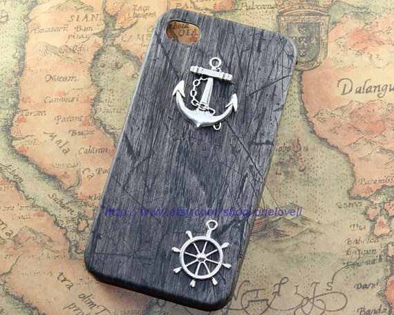 Silver anchor, rudder leather case for iPhone 4 Case, iPhone 4s Case, iPhone 4 Hard Case