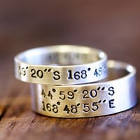 Wedding Ring Set Latitude and Longitude Rings