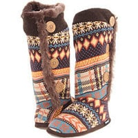 MUK LUKS Multi Stripe Fair Isle Button Boot