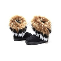 Weixinbuy Womens Winter Suede Snow Ankle Boots Faux Fur Tassel Flat Shoes