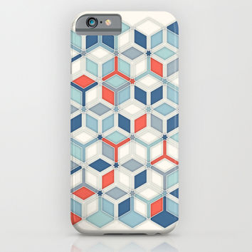 Soft Red, White & Blue Hexagon Pattern Play iPhone & iPod Case by micklyn
