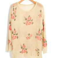 Ripped Knit Jumper in Floral Print