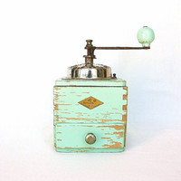 French country kitchen antique coffee grinder, turquoise mint, farmhouse decor, French kitchen decor, coffee mill, French coffee grinder