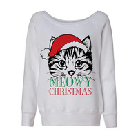 White Wideneck Meowy Christmas Merry Cat Kitten Ugly Oversized Ugly Christmas Sweatshirt Sweater Jumper Pullover