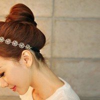 Woman's Handmade Gold Rose Flower Hairpiece Hair Accessories Headbands