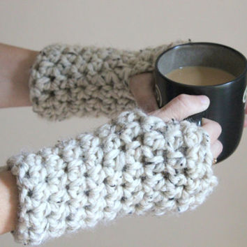 Chunky Gloves, Fingerless Gloves, Crochet Mittens, Crochet Gloves, Wool Gloves, Women's Accessories