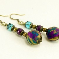 Polymer Clay Dangle Earrings, Turquoise Violet & Gold Beaded Earrings, Handmade