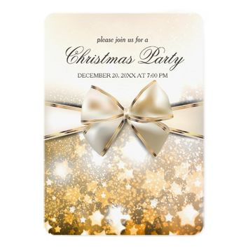 Christmas Stars Sparkle Satin Party Invitation