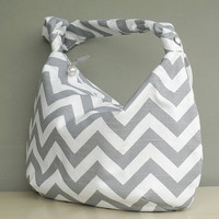 Chevron Hobo Bag - Zipper Slouch Purse in Grey and White (no.15)