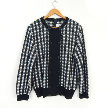 Oversize 80s Black and White Checked Women's Sweater - 1980s Vintage Baggy Knit Jumper - Size 14 Large