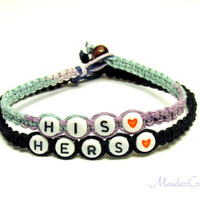 His Hers Couples Bracelet Set, Pastel and Black Macrame Hemp Jewelry, Anniversary or Christmas Gift, Made to Order