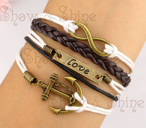 Anchor & Infinity Bracelet, antique bronze anchor bracelet and infinity wish bracelet, brown braid and white wax cords bracelet