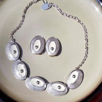Vintage Silver and white enamel necklace earring set GERMANY