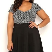 Plus Size Skater Dress with V Neck Glitter Bodice with Cap Sleeves