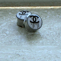 Dripping Chanel / Bleeding Chanel Plugs - One PAIR - Sizes 2g, 0g, 00g, 7/16&quot;, 1/2&quot;, 9/16&quot;, 5/8&quot;, 3/4&quot;, 7/8&quot;, 1&quot;- Made To Order