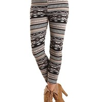 Fur-Lined Geometric Print Leggings by Charlotte Russe - Black Combo