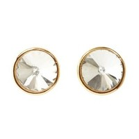 Oversized Crystal Stud Earrings by Charlotte Russe - Gold