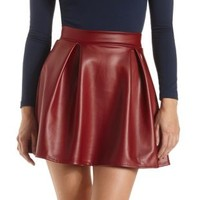 Pleated Faux Leather Skater Skirt by Charlotte Russe - Wine