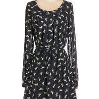ModCloth Critters Mid-length Long Sleeve A-line I Canter Be Tamed Dress