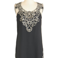 ModCloth Long Sleeveless Ornate Introduction Top