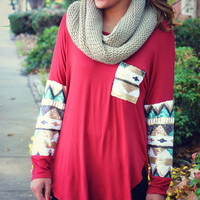 Havana Nights Burgundy Tribal Sequin Sleeve Pocket Top