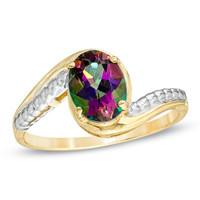 Oval Mystic Fire® Topaz Ring in 10K Gold