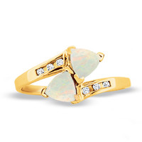 Lab-Created Trillion Cut Opal Bypass Ring in 10K Gold with Diamond Accents