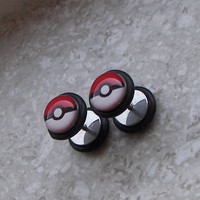 Pokeball Picture Earrings - FAKE Plugs - One PAIR