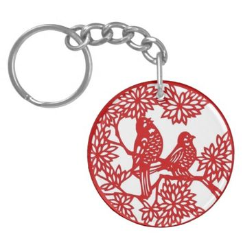 Red Birds in a Tree Keychain
