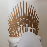 Metallic Game of Thrones Iron Throne inspired Toilet Sticker Funny Sword Toilet Decal or Bathroom Wall Sticker