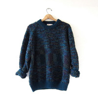 vintage boucle sweater. Oversized chunky sweater. 80s pullover sweater.