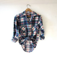 Vintage Distressed Flannel / Grunge Shirt / Boyfriend button up shirt / Dickies flannel