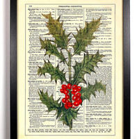 Branch Of Holly Christmas Holiday Repurposed Upcycled Dictionary Art Vintage Book Print Recycled Vintage Dictionary Page Buy 2 Get 1 FREE