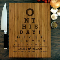 Personalized Wedding Gift, Cutting Board, Eye Chart, Eyechart, Anniversary Gift, Bride and Groom, Married, Heart, Housewarming Gift