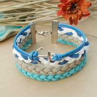 Anchor bracelet- blue anchor charm bracelet, sea theme bracelet for friends, gift for boyfriend, girlfriend