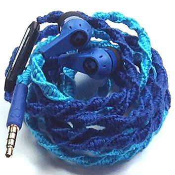 Tangle Free Earbuds Blue Belle NEW Genuine Skullcandy Headphones with Microphone and Volume Control for iPhone iPod iPad All Smartphones - Custom Wrapped by MyBuds