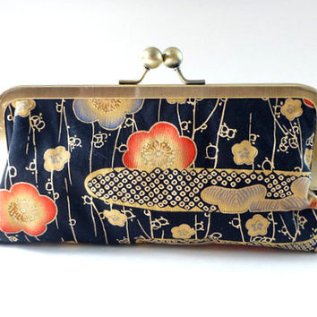 clutch, wallet, cosmetic bag, pouch, Geisha, Japanese fabric, weddings, bridesmaid gift for her, coral, navy, blue, beige COUPON