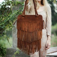 On Sale was 170 usd //Fringe Brown  Leather Bag // Made to order //
